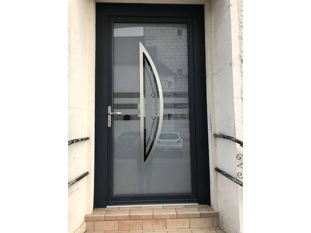 Porte d 39 entr e tr villers tryba aluminium gris anthracite - Tryba porte d entree aluminium ...